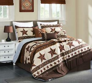 Luxury South Western Pattern Barbed Wire Rustic Brown Star Comforter Set - 7 Pc