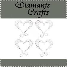 4 Clear Diamante Hearts with Swirls Self Adhesive Rhinestone Craft Embellishment