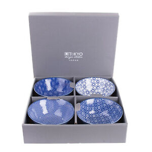 TOKYO DESIGN STUDIO Glaze Porcelain 4 Rice Bowl Set Patterned HANDMADE in Japan