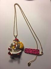 Betsey Johnson crystal Santa Claus W- YELLOW SANTA BAG necklace-BJ6504