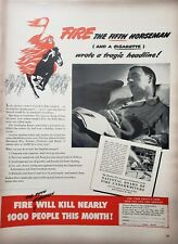 Vintage 1948 Fire Underwriters Print Ads Ephemera Art Decor Cigarette