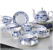 """15 Piece""European Style Bone Porcelain Blue Rose Pattern Teaset Coffee Set"