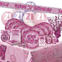 AGE 21/21ST BIRTHDAY PINK GLITZ PARTY RANGE (Balloon/Decoration/Banner/Napkins)
