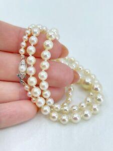 14K White Gold Modernist Akoya Saltwater Pearl Necklace Graduated Vtg 19In Japan