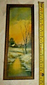 vintage framed print - probably William M. Thompson - stream cottage church snow