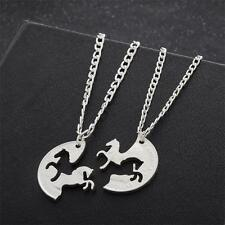 2Pc Running Horse Silver Necklace Pendant Women Lover Couple Best Friend Jewelry