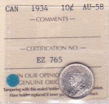 1934 CANADA 10 CENTS - ICCS-AU-58