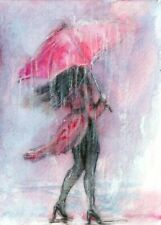 ACEO Rain red umbrella abstract woman landscape original painting art card sign
