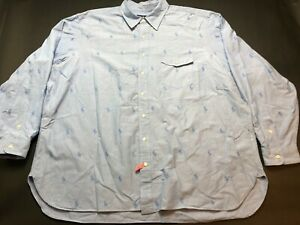 Ralph Lauren Mens Blue All Over Print Long Sleeve Button Front Shirt Sz 3XB Big