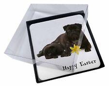 4x Feliz Semana Santa Negro carlino perros Imagen MESA Posavasos Set en