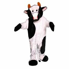 Dress up America Adult White & Black Cow Mascot Costume Jumpsuit