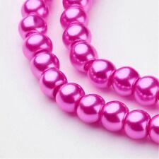 1 Strand 4mm Fuchsia Pearl Glass Pearls 216 Beads