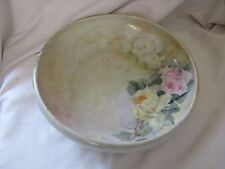 Rosenthal Secession Bavaria hand painted roses bowl pink yellow green