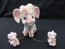 Vtg NAPCO Porcelain Pink Elephants - Mama w/ 2 Chained Babies - Numbered Japan