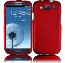 For Samsung Galaxy S III 3 Rubberized HARD Case Snap Phone Cover Rubber Red