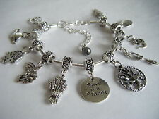 Spiritual Inspirational Charm Bracelet SAVE OUR PLANET Goddess Gaia Om Rainbow