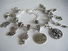 Spiritual Inspirational Charm Bracelet SAVE OUR PLANET Goddess Gaia Om Rainbow