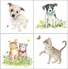4 Different Vintage Table Paper Napkins for Party Lunch Decoupage, Dogs, Cats