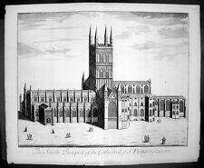 1724 Kip Large Antique Original Birds Eye View of Gloucester Cathedral, England
