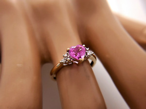 10k Yellow Gold Heart Shape Pink Topaz Ring 1.00 CT