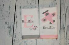 Airplane Personalized Burp Cloth set of 2  Custom Baby Gift Pink & Grey