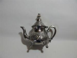 Silver? White Metal Moroccan Arabic Vintage single person Teapot. Pours lovely