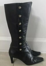 Retro  DIANA FERRARI Black Leather Boots Faux Fur Lined w 8cm Heels Size 8.5