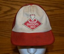 Vintage Diamond Reo Truck Hat Cap 60's 70's Red White Original Old Snapback Mesh