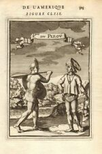 PERU COSTUME. Amerindians. Incas. Headdresses Shield spear. MALLET 1683 print