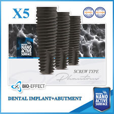 5 Dental Implant Nano Active Surface Screw Type+5 Straight Abutment Internal Hex