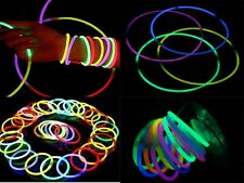 "100 pcs 8"" Multi Color Glow Stick Bracelet Necklace Wholesale Party Supply Lot *"