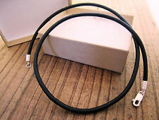 "Mens Leather Cord Necklace - Sterling Silver Clasp/Catch - 18"" inch - 3mm Black"