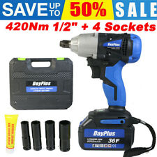 Cordless Impact Wrench 1/2'' Driver 21V 420N.m High Torque with 4 Socket Set