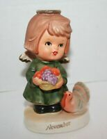 VINTAGE NAPCO C-9225 NOVEMBER GIRL BIRTHDAY ANGEL TURKEY FRUIT BASKET FIGURINE