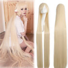 """Chobits Chi 59"""" Super Long Straight Blonde Cosplay Wig Party Hair Wigs US Stock"""