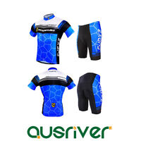 Men Short Sleeve Cycle Clothes Jersey Shirt Padded Shorts Pants Cycling Suit