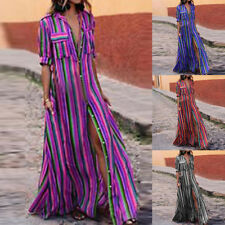 Fashion Womens Boho Button Striped Maxi Casual Loose Long Dress Shirt Dress NG09