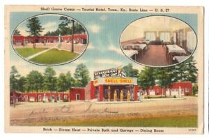 101520 GAS PUMPS AT SHELL GROVE TOURIST HOTEL KY AND TN BORDER ROADSIDE POSTCARD