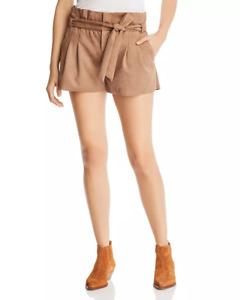 New $160 Aqua Womens Brown Paperbag Waist Faux Suede Shorts Size L