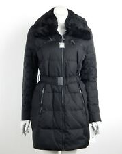 DKNY Down Coat Jacket Black Zip Front Faux Fur Collar Belted Large New