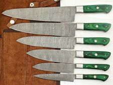 Custom Handmade Damascus Steel kitchen/Chef Knives set With Leather Sheath sa020