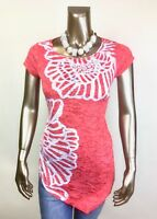 CHICO'S ZENERGY SIZE 3. (XL) RUNAWAY RED FLORAL SHORT SLV TUNIC *NWT