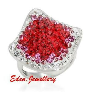 US$200 Super Gorgeous Crystal Ring Two-Tone Enamel 925 Sterling Silver Size 8