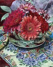 "Barbara Edidin, ""Daisies"" Orig Litho, Hand-colored by B. Edidin, 10""hx8""w image"