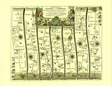 Oxford to Cambridge inc.Bicester, Buckingham Replica 17c OGILBY Old Road Map