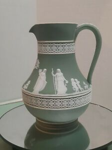 Antique Wedgwood Jasperware Sage Green Pitcher 7.5 inches, Neoclassical