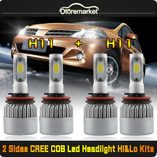 Combo H11+H11 CREE COB LED Car Headlight Bulbs 2800W 400000LM Hi/Lo Beam 6500K