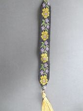 Vintage BOOKMARK Woven Ribbon Floral Design Black Gold Purple