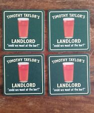 4 X TIMOTHY TAYLORS LANDLORD ALE PUB BAR BEER DRINK DRIP MAT COASTER COLLECTOR
