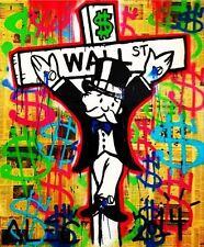 "Alec Monopoly Amazing HD print on Canvas Urban art Newspaper Crucified 24x32"""